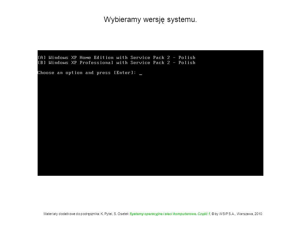 Jeżeli w komputerze jest dysk w standardzie SCSI lub inny wymagający sterownika, to w tym momencie należy nacisnąć klawisz [F6], aby zainstalować sterownik.