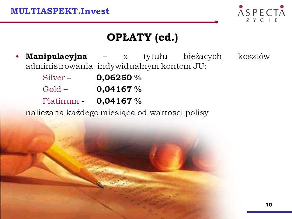 11 MULTIASPEKT.Invest OPŁATY (cd.) Za zawarcie umowy ubezpieczenia : Rok polisowySilver Gold Platinum 1, 2, 30,090833% 0,090833% 0,090833% 40,090833% 0,090833% 0,041667% 5 i kolejne0,041667% 0,041667% 0,041667% naliczana każdego miesiąca od wartości wpłat zrealizowanych w wysokości zależnej od wariantu ubezpieczenia