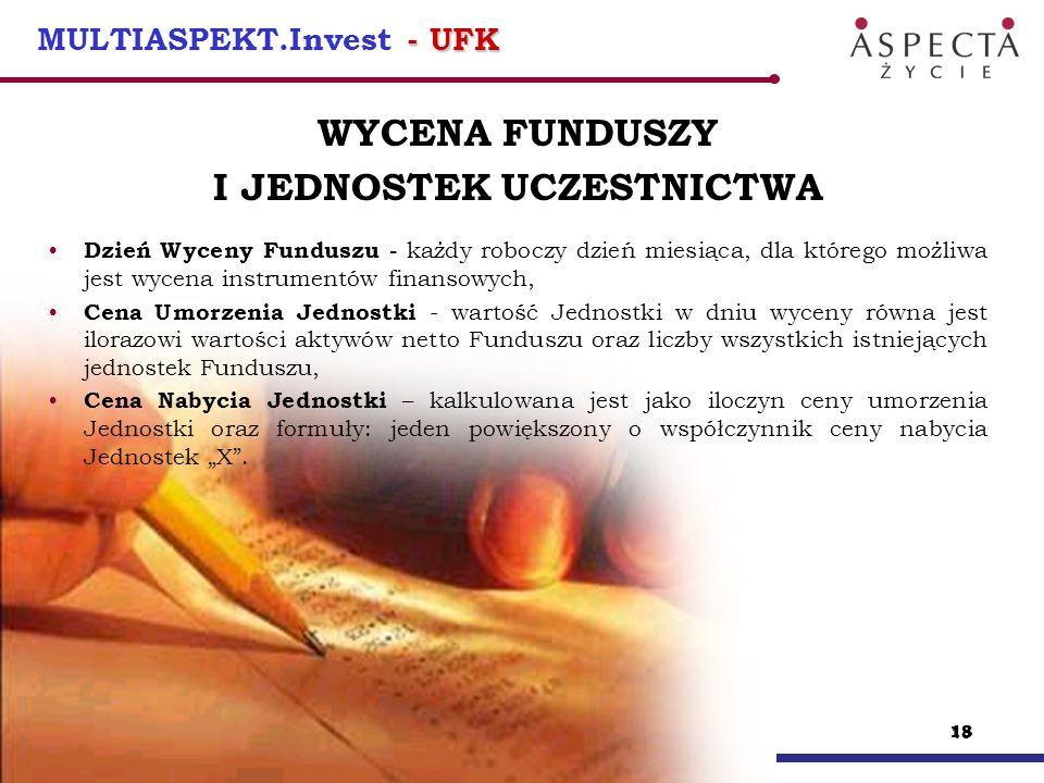 19 - UFK MULTIASPEKT.Invest - UFK KONWERSJA ŚRODKÓW zainwestowane środki mogą być przesuwane między funduszami, konwersja polega na umorzeniu jednostek we wskazanym funduszu oraz nabycia za wartość uzyskaną jednostek w innym funduszu konwersja jednostek może być realizowana w jednym lub kilku funduszach jednocześnie i może być przeprowadzana dowolną ilość razy w roku polisowym ( 12 razy bezpłatnie) od konwersji nie pobiera się opłaty z tytułu umorzenia i nabycia jednostek uczestnictwa (dotyczy większości UFK)