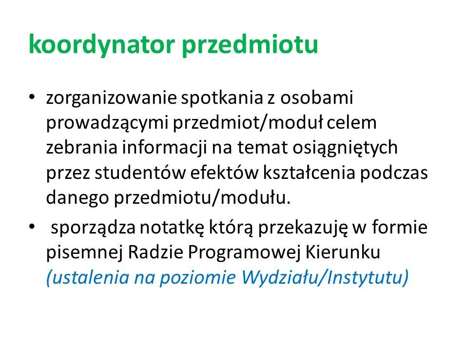 rada programowa kierunku przekazuje sprawozdanie roczne z weryfikacji efektów kształcenia na kierunku Komisji ds.