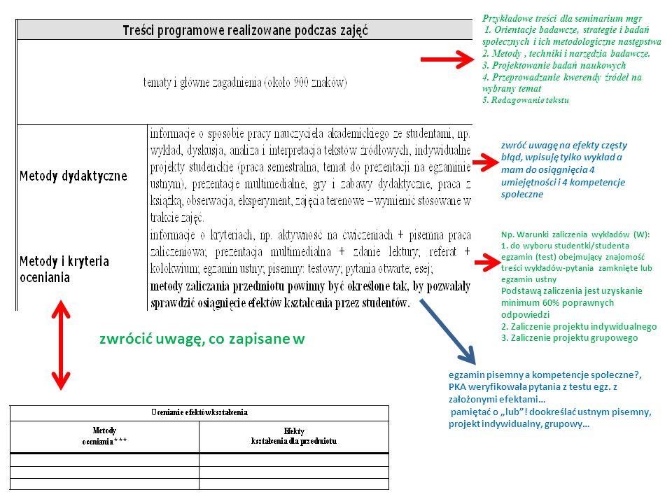 Na UKW nie ma obowiązku wpisywania niżej wymienionych ale należy wiedzieć gdy spyta PKA Efekt W2: na ocenę 2 - student nie potrafi udzielić odpowiedzi na pytania, ani wykonać poleceń wykładowcy; na ocenę 3 - student potrafi wymienić procesy nabywania kultury oraz czynniki społeczno-kulturowe na ocenę 4 - student potrafi wymienić i opisać procesy nabywania kultury oraz czynniki społeczno-kulturowe na ocenę 5 - student potrafi wymienić opisać i podać przykłady występujących w nich rozwiązań problemów związanych z procesem nabywania kultury oraz czynników społeczno-kulturowych Efekt U2: na ocenę 2 - student nie potrafi udzielić odpowiedzi na pytania, ani wykonać poleceń wykładowcy; na ocenę 3 - student potrafi generować oryginalne rozwiązania dotyczące uczestnictwa w kutrze na ocenę 4 - student potrafi generować oryginalne rozwiązania dotyczące uczestnictwa w kutrze oraz prognozować jego przebieg; na ocenę 5 - generować oryginalne rozwiązania dotyczące uczestnictwa w kutrze oraz prognozować jego przebieg; oraz przewidywać skutki planowanych działań w określonych obszarach praktyki.