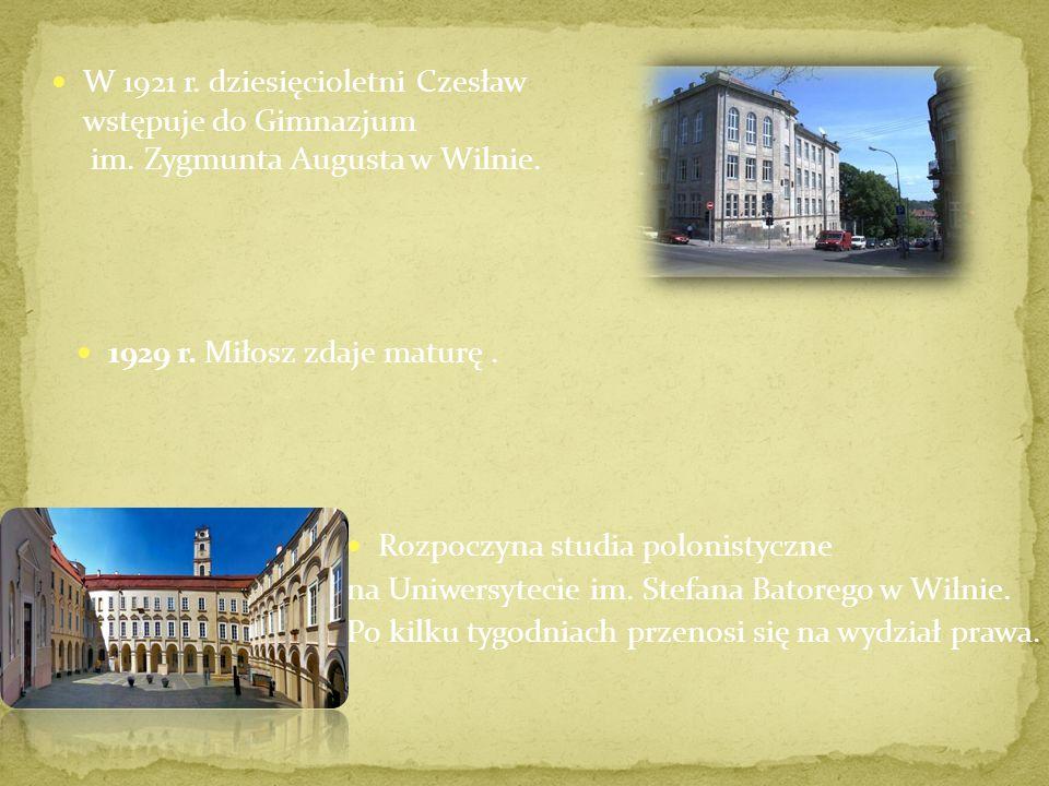 W 1921 r.dziesięcioletni Czesław wstępuje do Gimnazjum im.