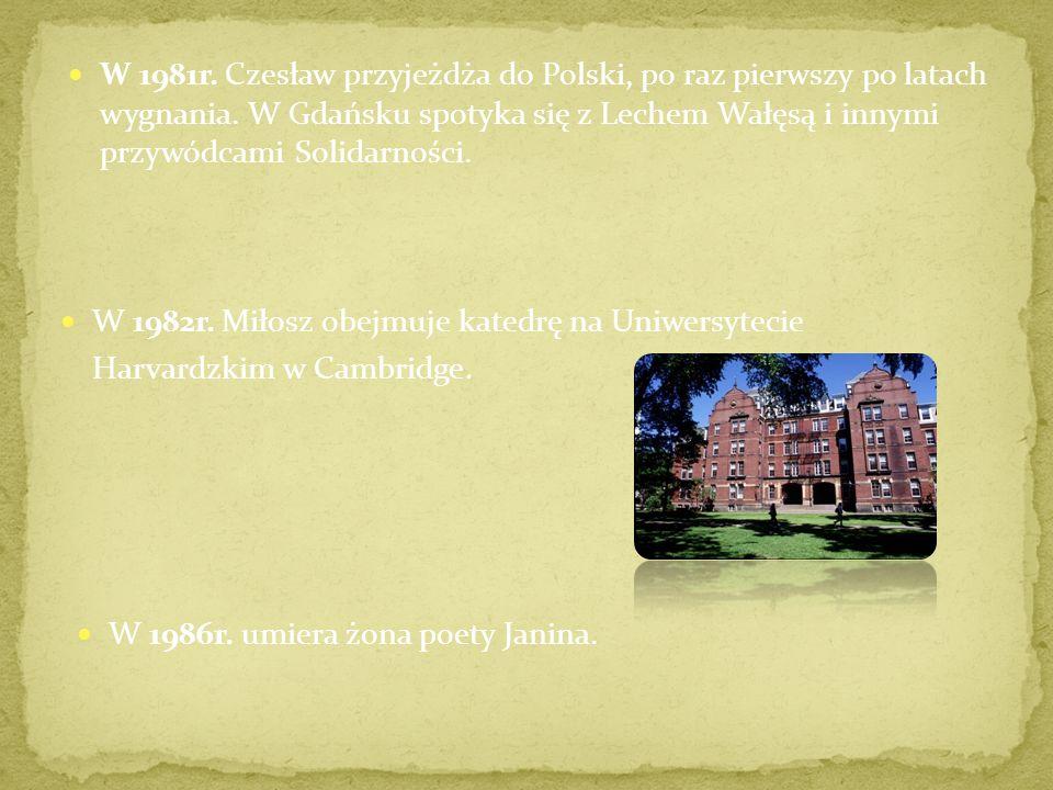 W 1981r.Czesław przyjeżdża do Polski, po raz pierwszy po latach wygnania.