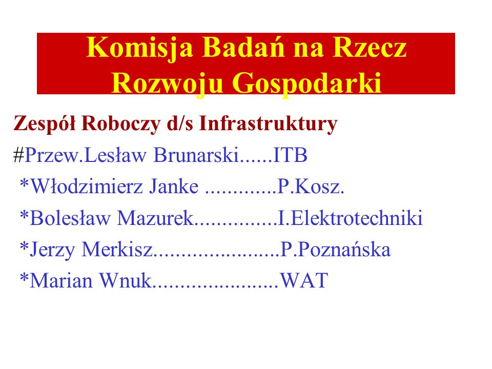 Komisja Badań na Rzecz Rozwoju Gospodarki Zespół Roboczy d/s Surowców i Materiałów Przew.Henryk Górecki.............P.Wrocławska Tadeusz Bołd...........................I.Metal.Żelaza Jarosław Mizera........................P.Warszawska Wojciech Lubiewa-Wieleżyński.......PIPChem Józef Sas...................................I.Nawozów.Sztucz.