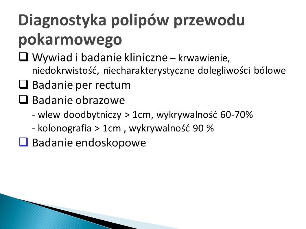 Badania endoskopowe – kolonoskopia i gastroskopia Największa czułość diagnostyczna (94%) Możliwość pobierania wycinków oraz usuwania napotkanych polipów do badania histopatologicznego Tylko badanie histopatologiczne polipa usuniętego w całości pozwala na określenie jego charakteru i stopnia dojrzałości oraz postawienie ostatecznego rozpoznania, określenia radykalności zabiegu i sposobu postępowania.
