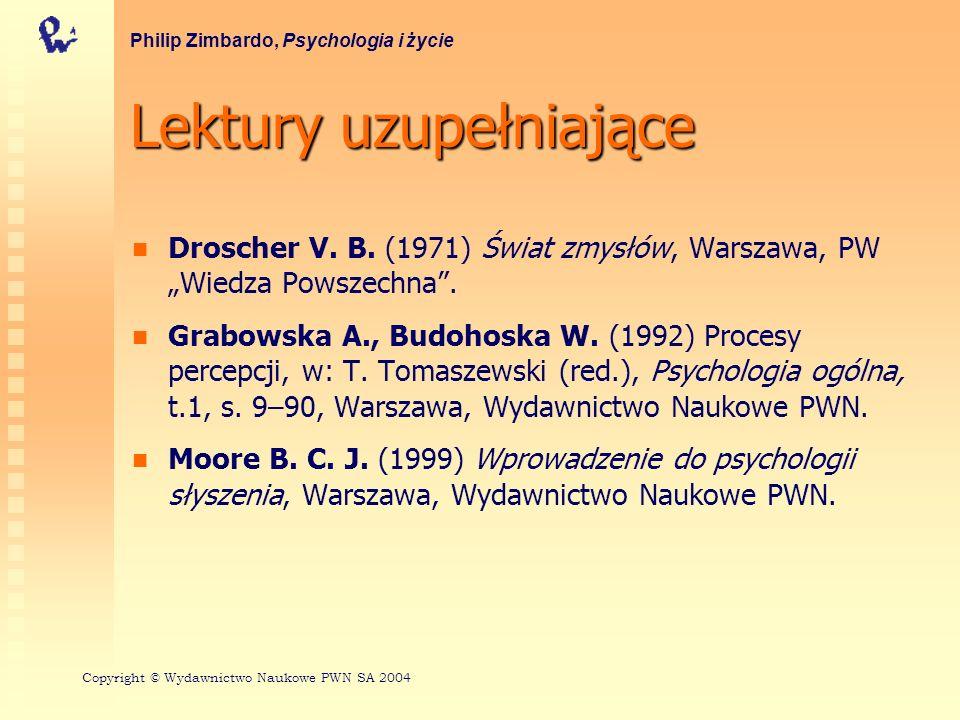 Lektury uzupełniające Ozimek E.(2002) Dźwięk i jego percepcja.
