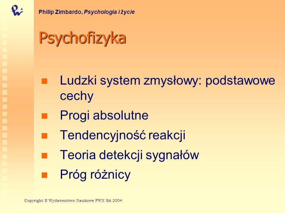 Ludzki system zmysłowy 1 Philip Zimbardo, Psychologia i życie ZmysłBodziecNarząd zmysłu ReceptorWrażenie WzrokFale świetlneOkoCzopki i pręciki siatkówki Kolory, wzorce, faktury SłuchFale dźwiękowe UchoKomórki włosowe błony bębenkowej Szumy, tony Wrażenia skórne Kontakt zewnętrzny SkóraKońcówki nerwów w skórze (ciałka Rufiniego, płytki Merkerla, ciałka Paciniego) Dotyk, ból, ciepło, zimno Copyright © Wydawnictwo Naukowe PWN SA 2004