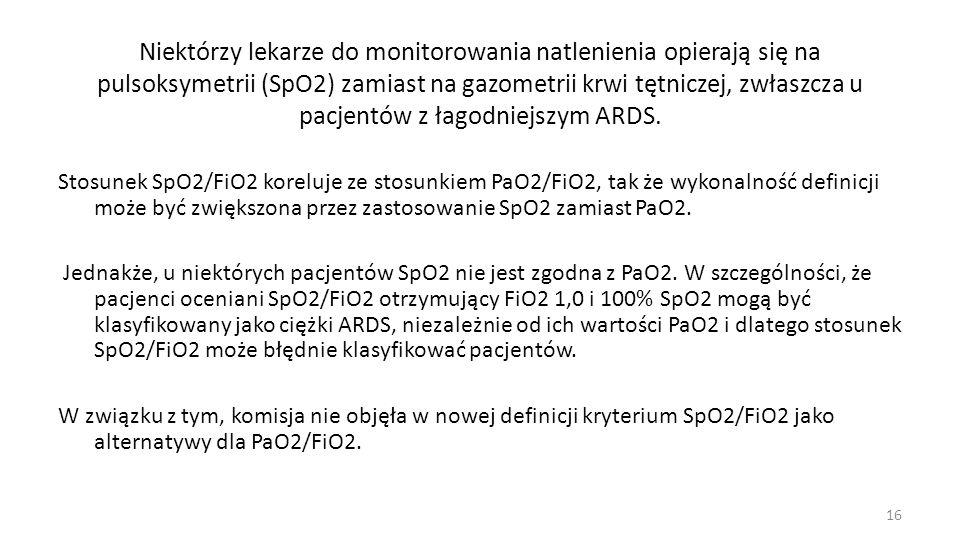 Określenie Ostre Uszkodzenie Płuc - ALI usunięto z definicji ARDS Panowało przekonanie, że wielu klinicystów i badaczy postrzega ALI jako inną kategorię pacjentów (tj.
