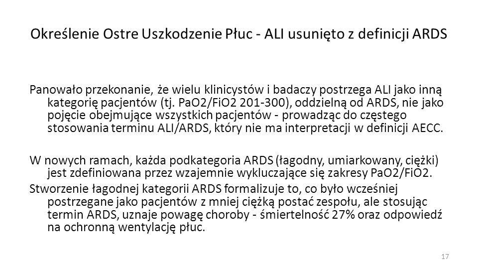 W cięższych postaciach ARDS, uznane zostały dwa progi: PaO2/FiO2 150 lub 100 mmHg.