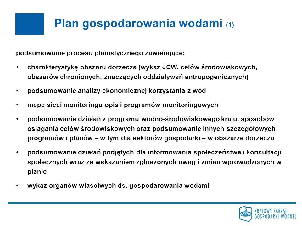 Plan gospodarowania wodami (2) zatwierdzony przez Radę Ministrów zapewnia rozpoczęcie realizacji działań zawartych w programie wodno- środowiskowym kraju i innych planach i programach w terminie nie dłuższym niż 3 lata od daty opublikowania może wskazać zlewnie, dla których jest konieczne ustalenie szczegółowych zasad ochrony ilości i jakości wód dla osiągnięcia dobrego stanu (dyrektor rzgw: warunki korzystania z wód zlewni) może dopuszczać ustalenie dla niektórych części wód zagrożonych nieosiągnięciem celów środowiskowych, celów mniej rygorystycznych niż ustanowione cele środowiskowe lub też ustanowienie dłuższego niż do dnia 22 grudnia 2015 r.