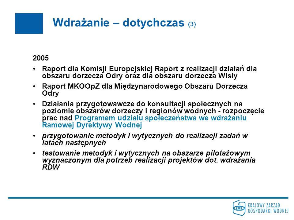 Wdrażanie – dotychczas (4) 2006-7 opracowanie programów monitoringu wód powierzchniowych i podziemnych z uwzględnieniem obszarów chronionych ustanowienie celów środowiskowych dla poszczególnych części wód ostateczne wyznaczenie silnie zmienionych i sztucznych części wód uzupełnienie analizy ekonomicznej dla pozostałych sektorów gospodarki oraz oszacowanie kosztów środowiskowych i zasobowych opracowanie istotnych problemów gospodarki wodnej w obszarach dorzeczy oraz przedłożenie dokumentu do konsultacji społecznych – planowany termin zakończenia IX 2008