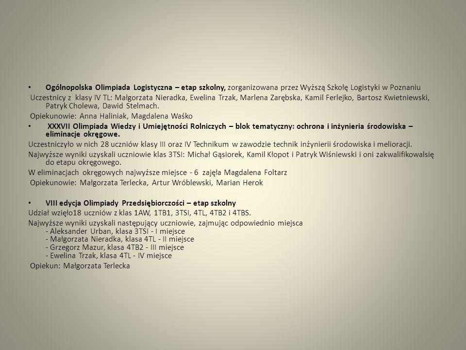 Wojewódzki Konkurs Wiedzy Technicznej Uczeń klasy IITSI Henryk Puzio zakwalifikował się do etapu okręgowego Z etapu okręgowego zakwalifikował się do etapu centralnego ( uczestnik) Opiekun: Artur Wróblewski XXVI Olimpiada Wiedzy i Umiejętności Budowlanych Uczestniczyło w nich 23 uczniów klasy III oraz IV Technikum.