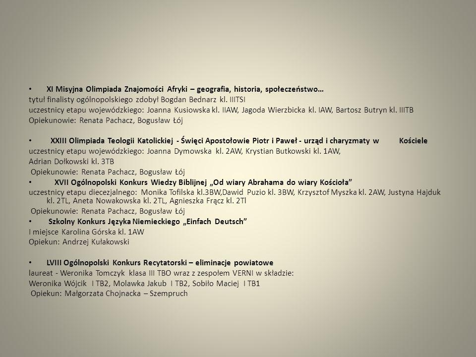 Rejonowy etap LVIII Ogólnopolskiego Konkursu Recytatorskiego (kategoria: turniej poezji śpiewanej) laureat - Weronika Tomczyk klasa III TBO wraz z zespołem VERNI w składzie: Weronika Wójcik I TB2, Molawka Jakub I TB2, Sobiło Maciej I TB1 Opiekun: Małgorzata Chojnacka – Szempruch XIV Powiatowy Przegląd Zespołów Szkolnych O Gęsie Pióro laureat - Weronika Tomczyk klasa III TBO wraz z zespołem VERNI w składzie: Weronika Wójcik I TB2, Molawka Jakub I TB2, Sobiło Maciej I TB1 Opiekun: Małgorzata Chojnacka –Szempruch X Wojewódzki Przegląd Zespołów Szkolnych O Gęsie Pióro wyróżnienie:Weronika Tomczyk klasa III TBO wraz z zespołem VERNI w składzie: Weronika Wójcik I TB2, Molawka Jakub I TB2, Sobiło Maciej I TB1 Opiekun: Małgorzata Chojnacka – Szempruch Konkurs Logistyki – zorganizowany przez Wyższą Szkołę Logistyki w Gliwicach Uczestnicy: Aneta Nowakowska kl.