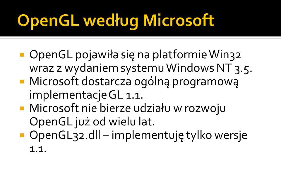 Sterowniki nie mogą dodawać nowej funkcjonalności do biblioteki opengl32.dll, dlatego wykorzystano do tego mechanizm rozszerzeń.