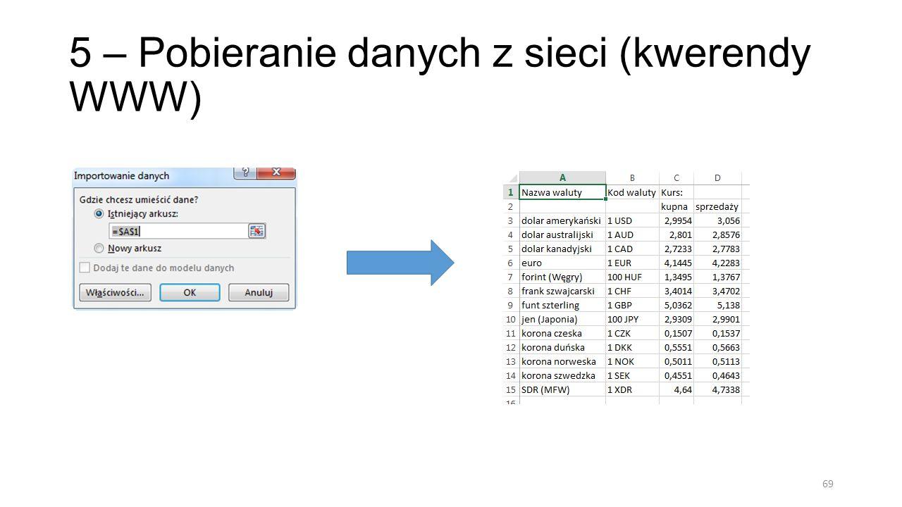 5 – Pobieranie danych z sieci (kwerendy WWW) 70 Kwerendę można edytować oraz odświeżać, aby pobrać aktualne dane