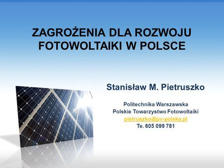 Installed PV power Polsce (source: URE