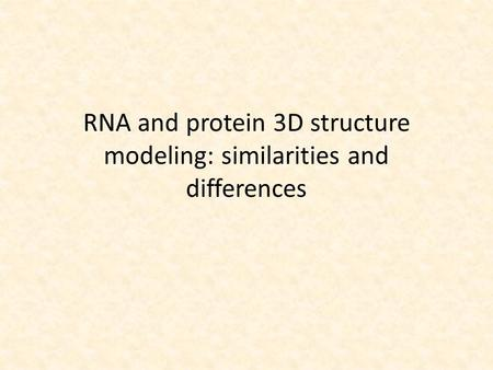 RNA and protein 3D structure modeling: similarities and differences.