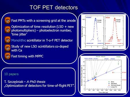 TOF PET detectors Fast PMTs with a screening grid at the anode Optimization of time resolution (LSO + new photomultipliers) – photoelectron number, time.