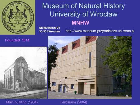 Museum of Natural History University of Wrocław