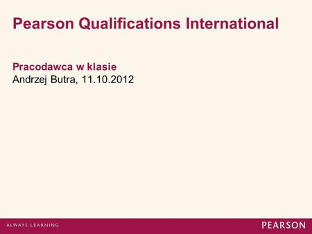 Pearson Qualifications International