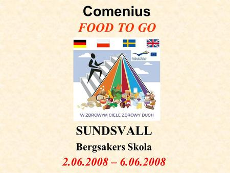 Comenius FOOD TO GO SUNDSVALL Bergsakers Skola 2.06.2008 – 6.06.2008.