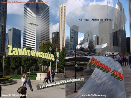 Chicago - Millennium Park Copyrights GoToSlawek.org, 2004; All rights reserved …ergo sum.