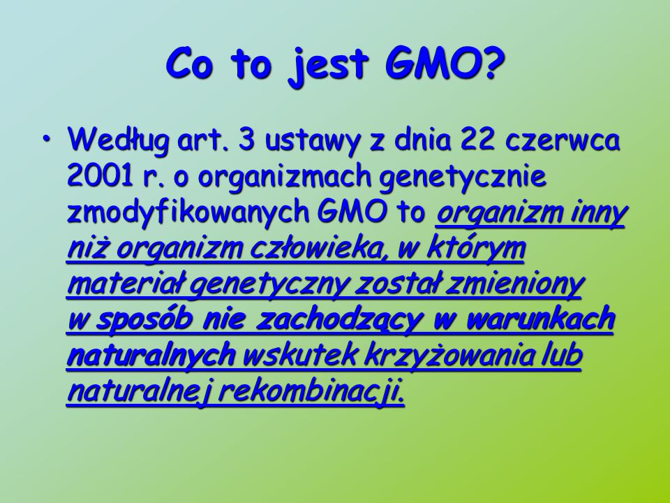 Zagrożenia związane z GMO Modyfikacje genetyczne rozprzestrzeniają się na inne rośliny poprzez zapylenie krzyżoweModyfikacje genetyczne rozprzestrzeniają się na inne rośliny poprzez zapylenie krzyżowe Nasiona GMO przenoszone przez wiatr, czy zagubione w transporcie, zanieczyszczają uprawy tradycyjne.Nasiona GMO przenoszone przez wiatr, czy zagubione w transporcie, zanieczyszczają uprawy tradycyjne.