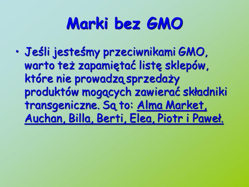 Sklepy prowadzące sprzedaż produktów z GMO