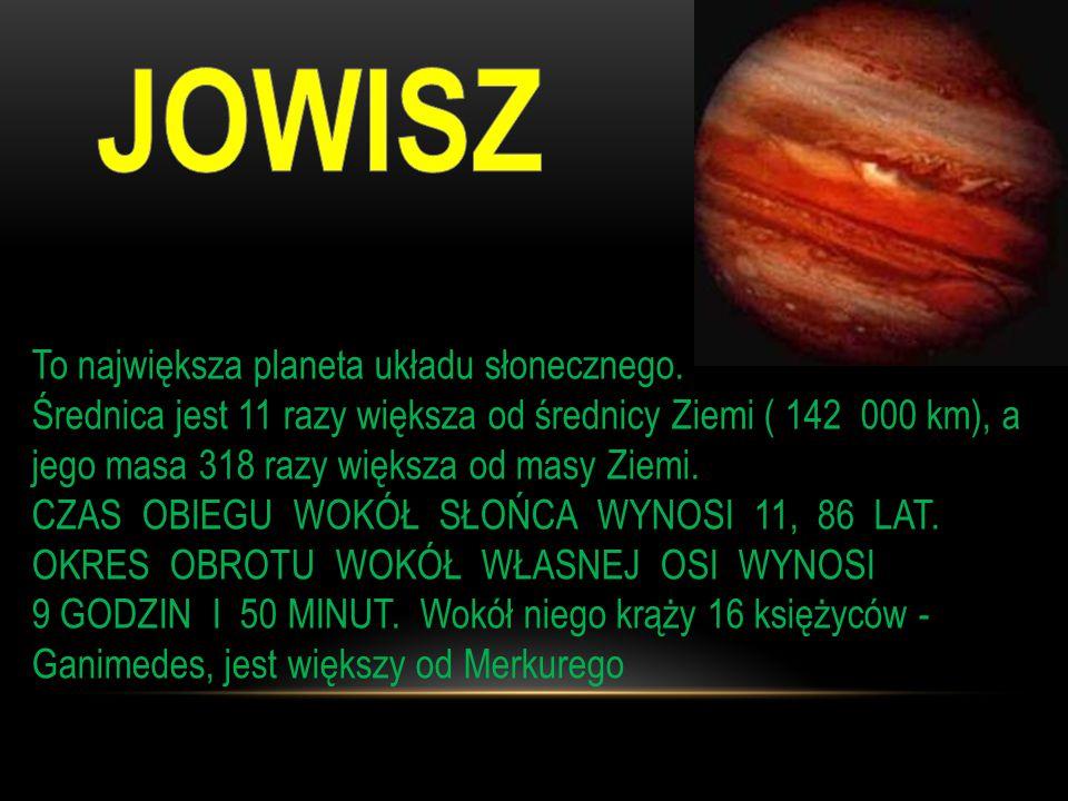 Temp.we wnętrzu Saturna to 15 000 *C Wokół Saturna jest 20 księżyców składają się głównie z lodu.