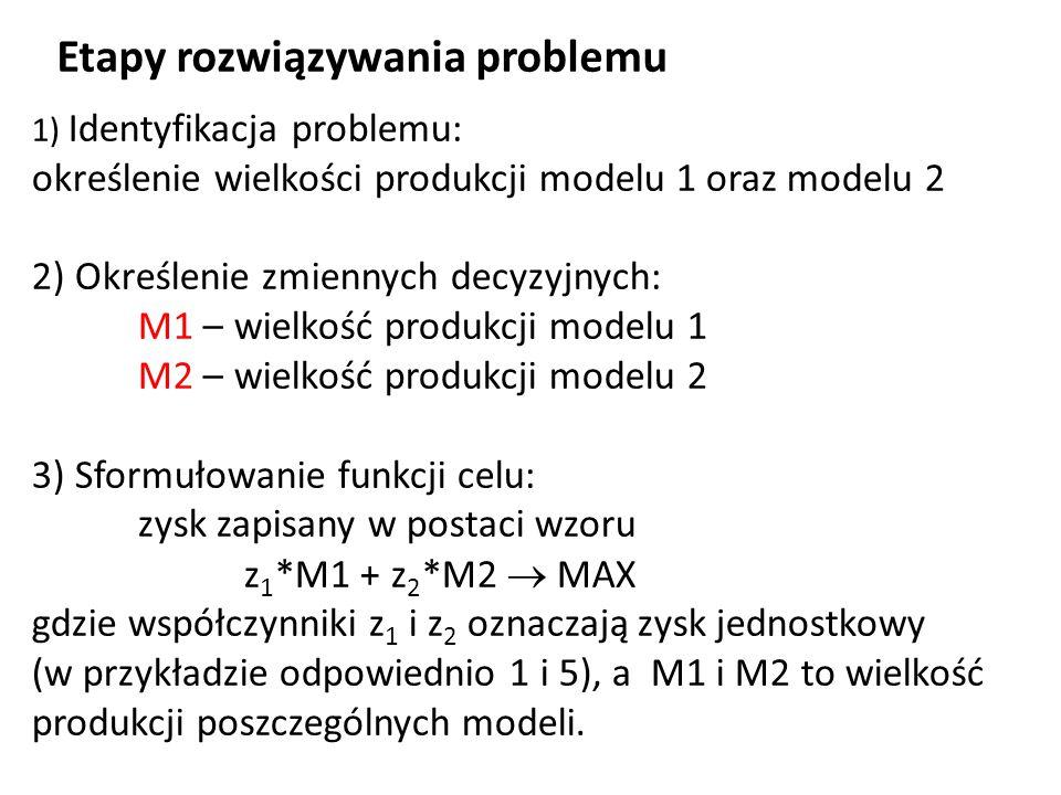 4) Określenie i sformułowanie ograniczeń: w1 t1 a *M1 + t2 a *M2  g a – ograniczenia czasu pracy na wydziale WM, w2 t1 b *M1 + t2 b *M2  g b – ograniczenia czasu pracy na wydziale WO, w3 t1 c *M1 + t2 c *M2  g c – ograniczenia czasu pracy na wydziale WME, M1, M2  0– założenie o nieujemnych wartościach zmiennych decyzyjnych.