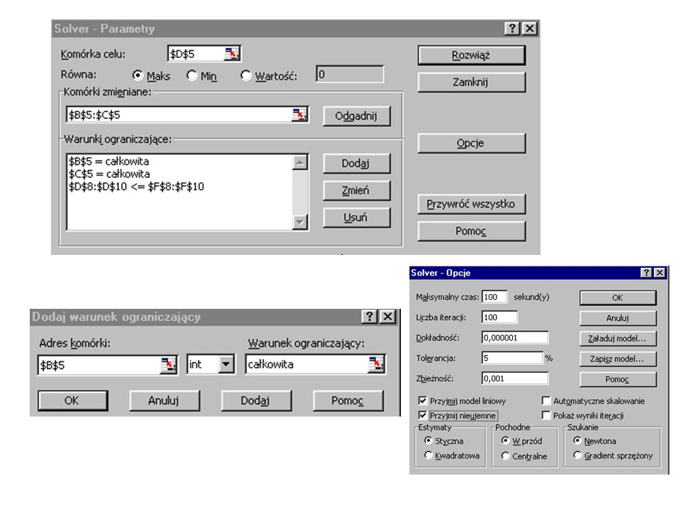 Wykonanie optymalizacji: Proces optymalizacji aktywizuje się przyciskiem Rozwiąż.