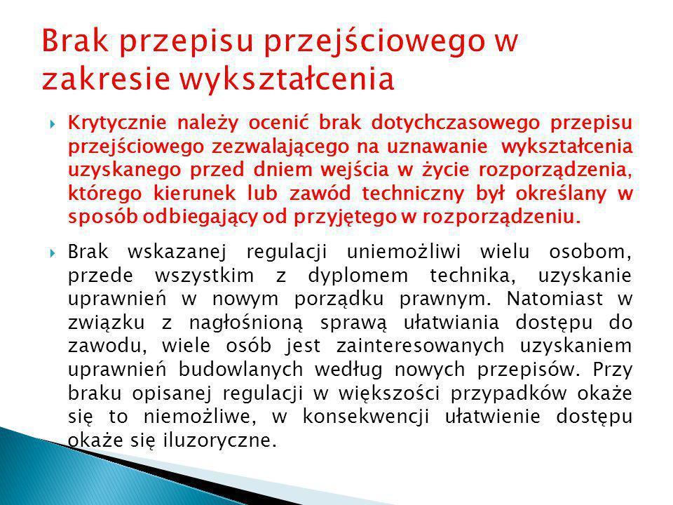  W załączniku nr 1 nie podano szczegółowo zawodów dla poszczególnych specjalności, co należy zgodnie z delegacją ustawową uczynić.