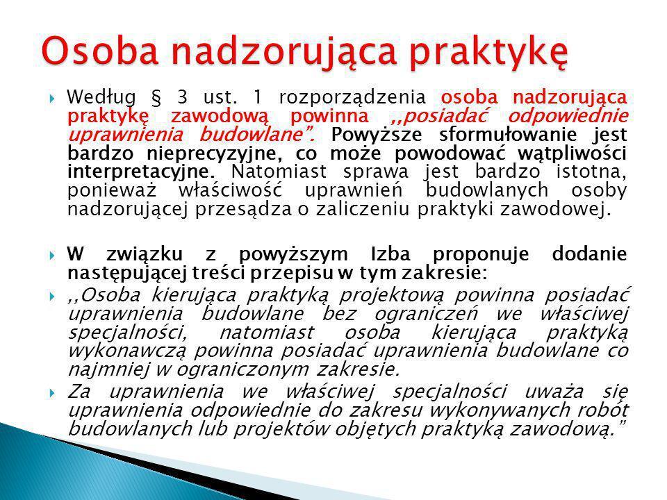  Według § 3 ust.1 projektu rozporządzenia:,,Praktyka zawodowa, o której mowa w art.