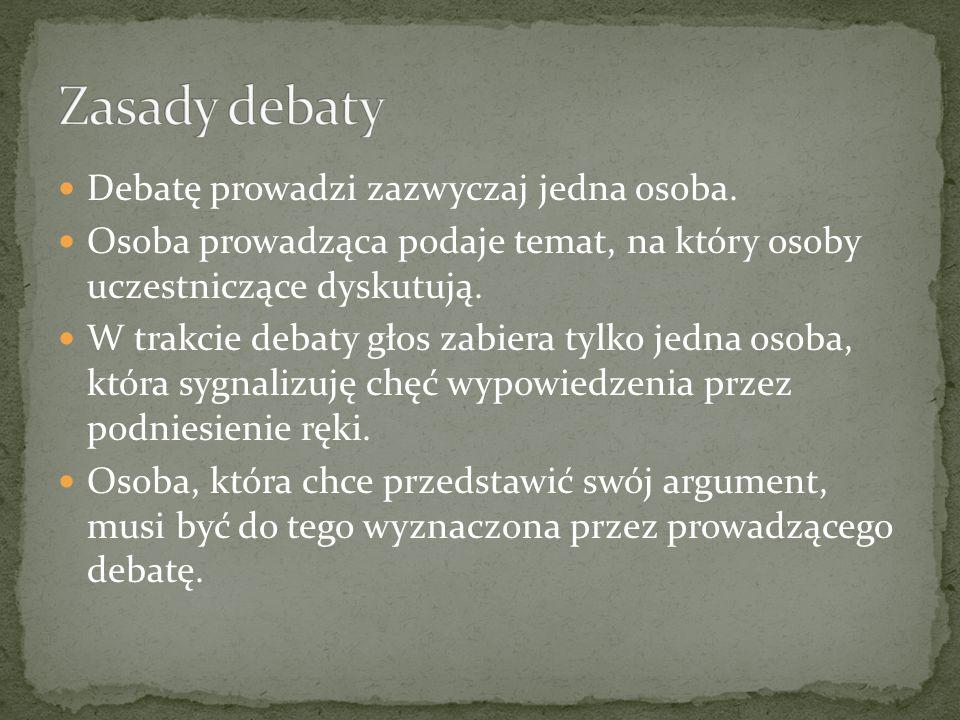 Debata ma na celu wybór najlepszego rozwiązania omawianego problemu.