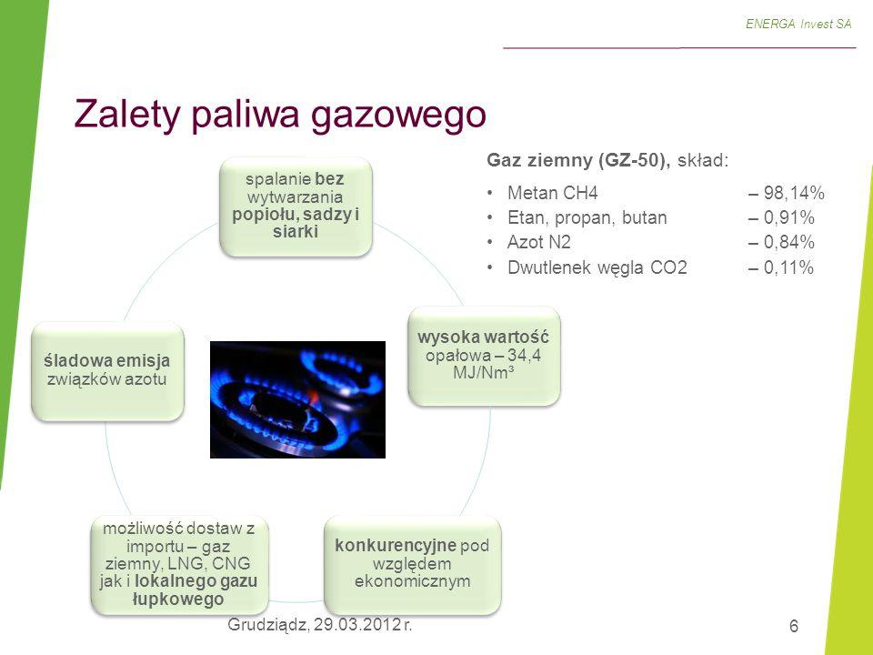 7 SO x NO x CO 2 Gaz ziemny0%40%60% Węgiel100% ENERGA Invest SA  o połowę krótsza faza budowy  ponad 1/3 niższe koszty budowy  zajmuje 1/4 powierzchni  emisje:  mniejsze zapotrzebowanie na wodę technologiczną  brak konieczności budowy składowisk na paliwo oraz miejsc do składowania odpadów  brak konieczności transportu paliwa (w przypadku elektrowni węglowej istnieje konieczność transportu ok.