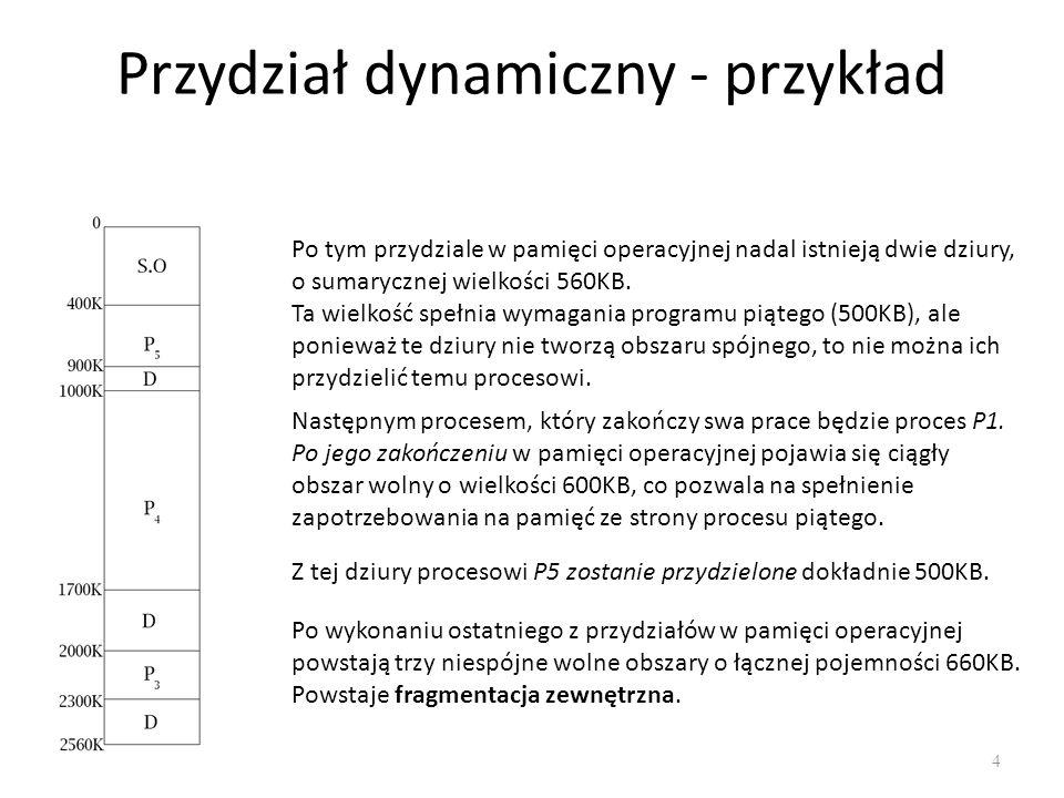Fragmentacja pamięci 5 Zjawisko występuje powszechnie w systemach, które stosują dynamiczny przydział pamięci.