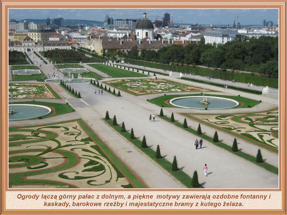 Ogrody łączą górny pałac z dolnym, a piękne motywy zawierają ozdobne fontanny i kaskady, barokowe rzeźby i majestatyczne bramy z kutego żelaza.