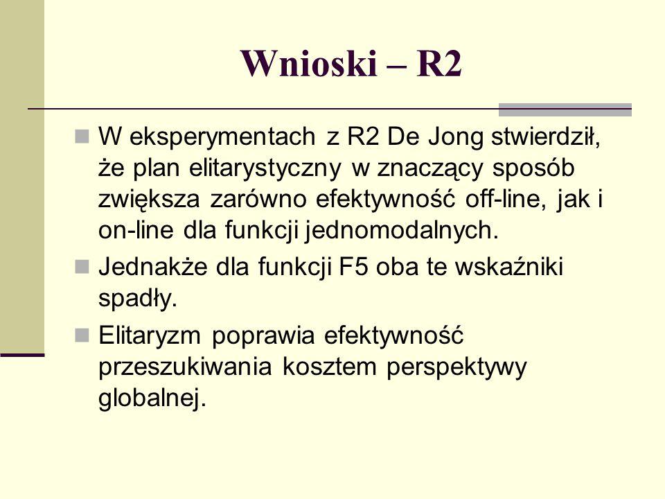 Plan R3 W modelu R3 De Jong starał się zniwelować dużą wariancję, występującą przy selekcji zgodnej z zasadą ruletki.