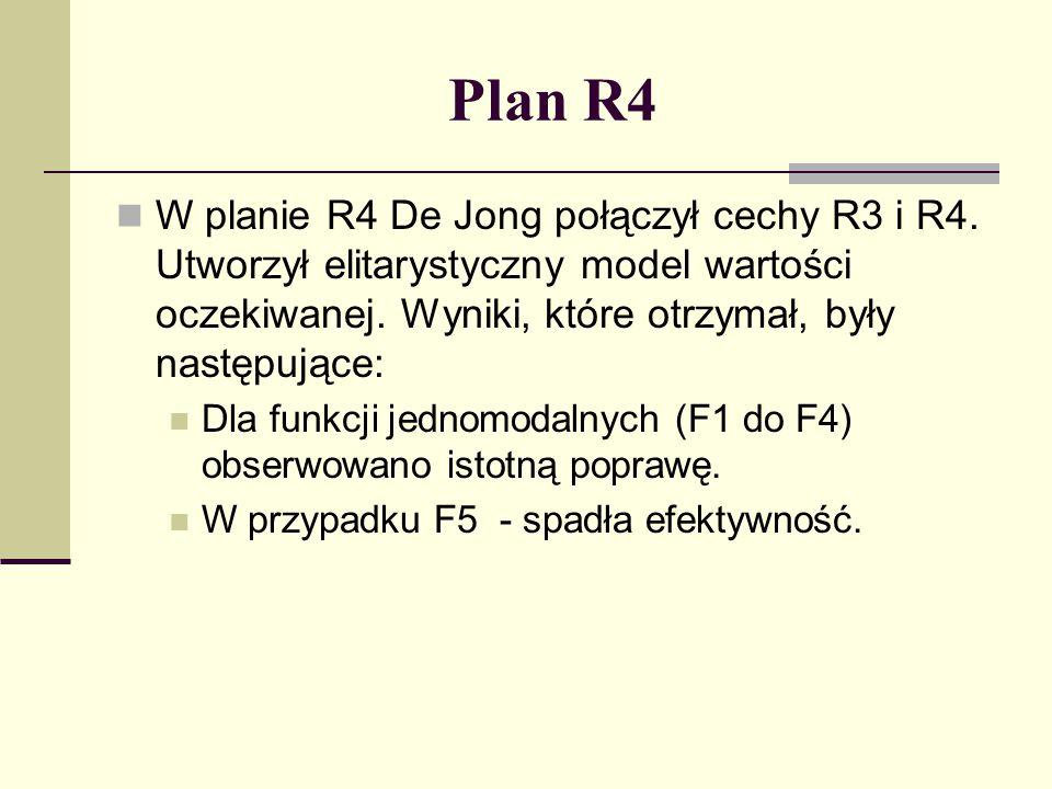Plan reprodukcyjny R5 De Jong postanowił zastępować nowo utworzonym potomstwem podobne do niego, starsze osobniki – utrzymanie większej różnorodności w populacji.
