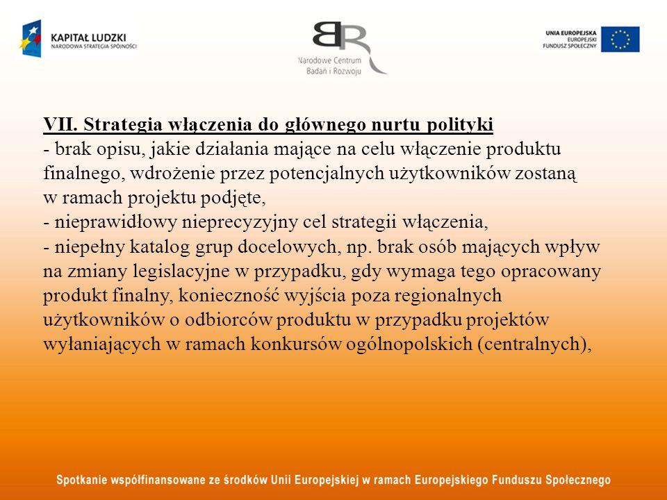 VII.Strategia włączenia do głównego nurtu polityki c.d.