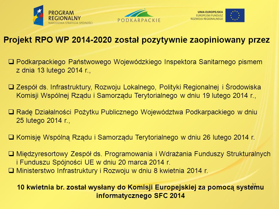 32 Harmonogram dalszych prac nad RPO WP 2014-2020  Negocjacje projektu RPO WP 2014-2020 z Komisją Europejską – II – IV kwartał 2014 r.