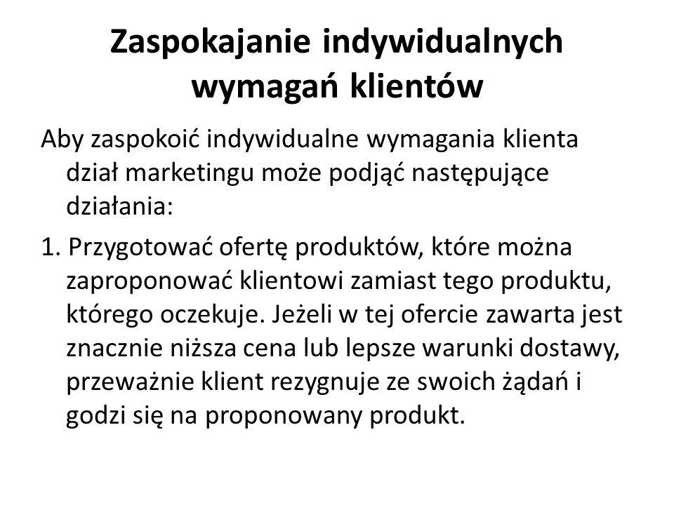 Zaspokajanie indywidualnych wymagań klientów 2.