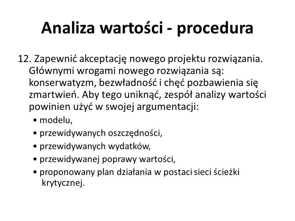 Analiza wartości - procedura 12 pytań Gage a do analizy wartości 1.