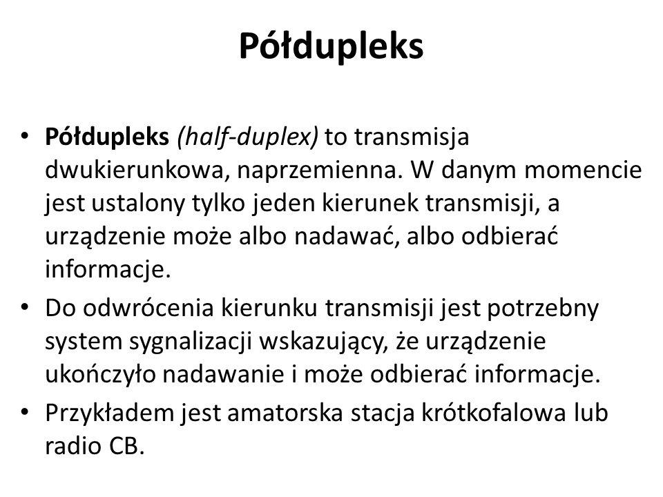 Dupleks Dupleks (full-duplex) to transmisja jednoczesna i dwukierunkowa.