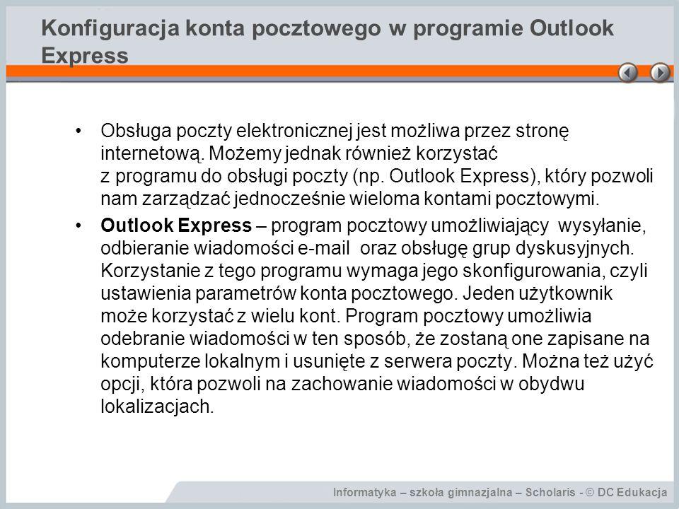 Informatyka – szkoła gimnazjalna – Scholaris - © DC Edukacja Konfiguracja konta pocztowego w programie Outlook Express W menu Narzędzia wybierz polecenie Konta.