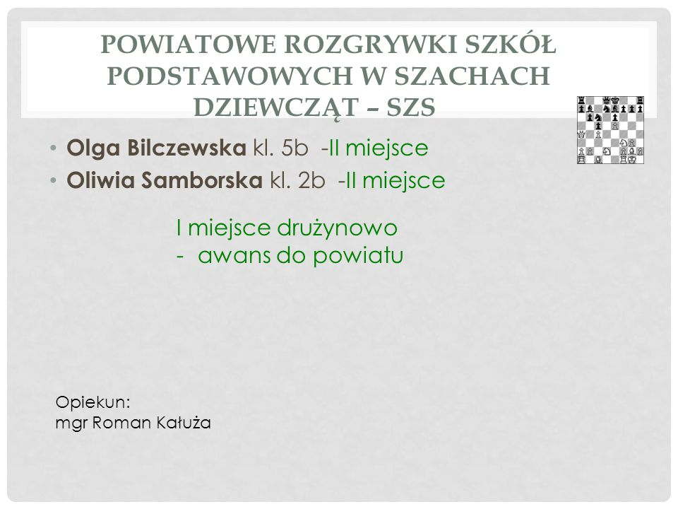 POWIATOWE ROZGRYWKI SZKÓŁ PODSTAWOWYCH W SZACHACH CHŁOPCÓW – SZS Bartosz Smyczek kl.