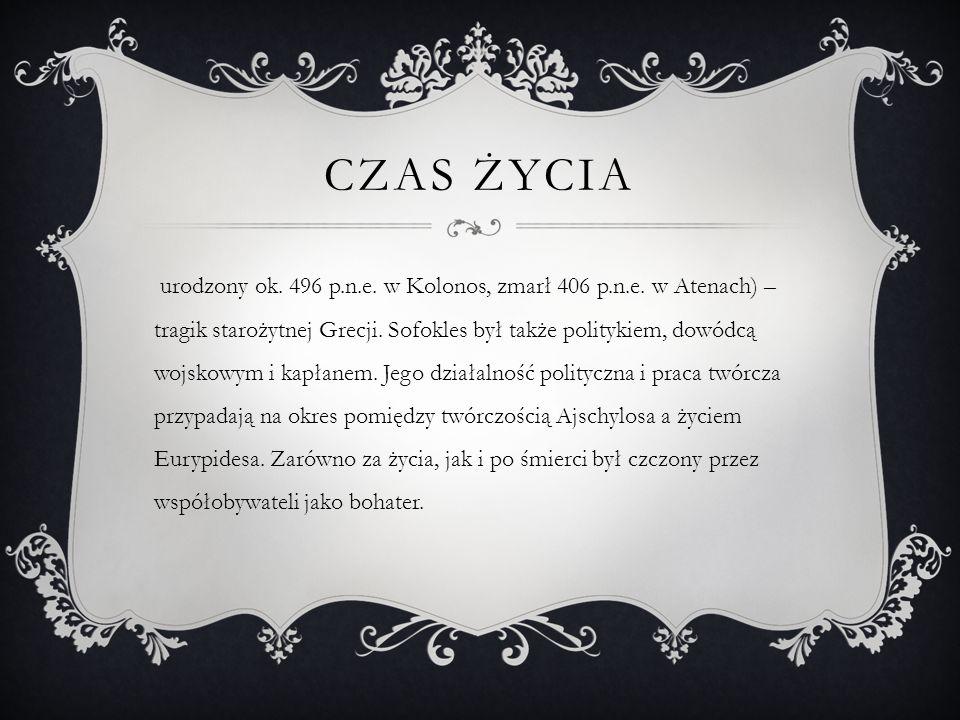 ZACHOWANE DZIEŁA  Ajas  Antygona  Edyp król  Trachinki  Filoktet  Elektra  Edyp w Kolonie