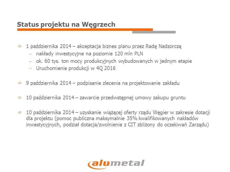 Podsumowanie  W 3Q 2014 wyniki finansowe zgodne z oczekiwaniami Zarządu  Sytuacja rynkowa do końca roku 2014 stabilna  Solidne przepływy operacyjne, niskie zadłużenie i uzyskana pomoc publiczna na Węgrzech pozwolą sfinansować nakłady inwestycyjne związane z projektem na Węgrzech oraz kontynuowanie polityki dywidendowej