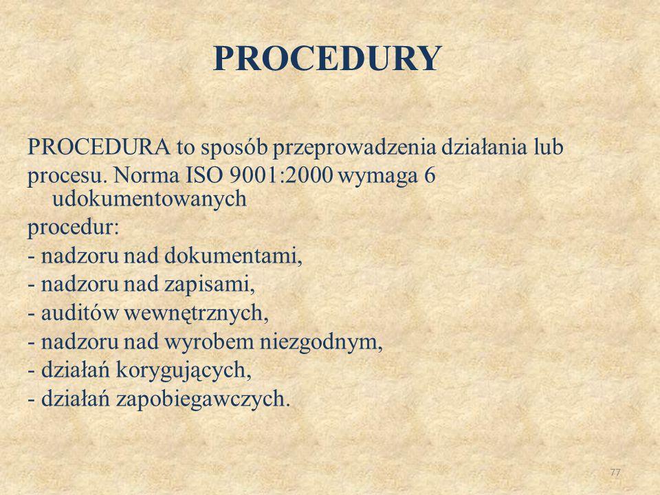 78 PRZYKŁADOWY UKŁAD I SPIS TREŚCI PROCEDURY 1.Tytuł i numer procedury, numer wydania 2.