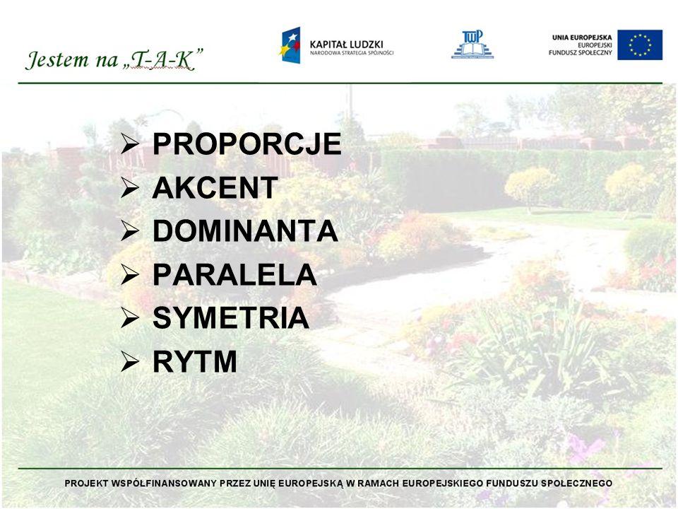  PROPORCJE Proporcje jakie zachodzą między elementami, są bardzo ważne i wyznaczają zasady kompozycyjne.